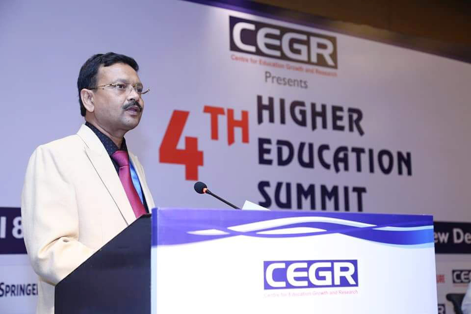 Prof. N K Sinha, Vice-Chancellor, Himalayan Garhwal University at Fourth Higher Education Summit on 18th April 2018 in Le Meridien New Delhi.